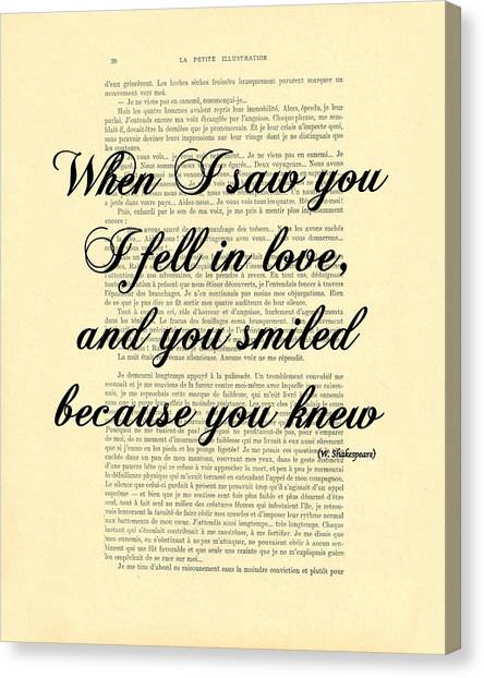 Wedding Gift Canvas Print - Shakespeare Quote by Madame Memento