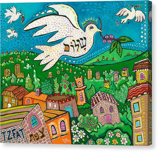 Shalom Over Tzfat Canvas Print