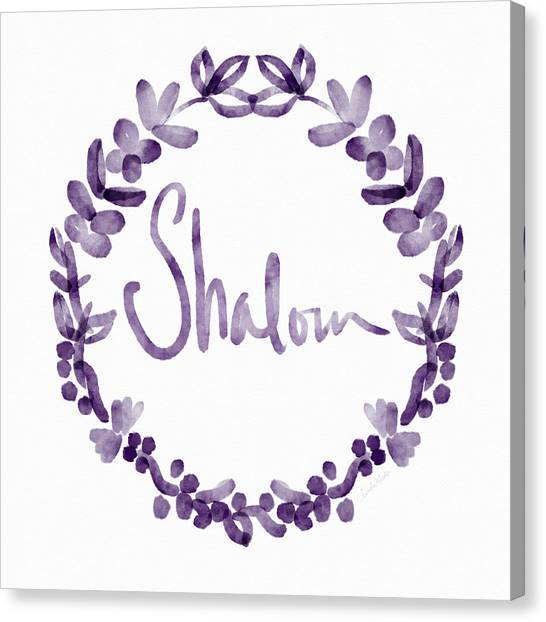 Wreath Canvas Print - Shalom Wreath- Art By Linda Woods by Linda Woods