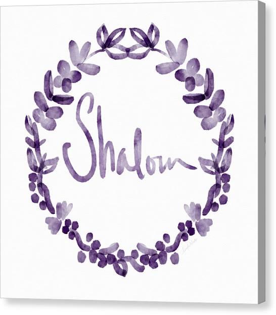 Wreath Canvas Print - Shalom Wreath- Art By Linda Woods by Linda Woods