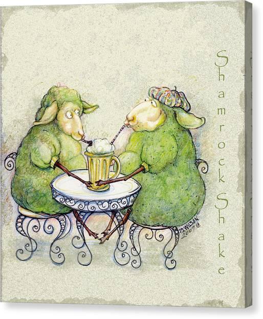 St Patrick Day Canvas Print - Shamrock Shake by Peggy Wilson