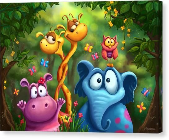 Hippos Canvas Print - Shangagel Boogie by Tooshtoosh
