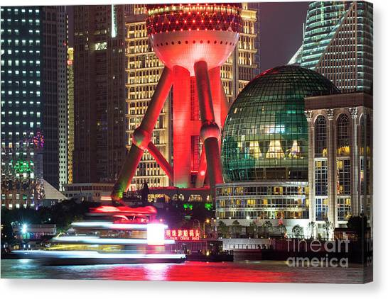 Bund Canvas Print - Shanghai China Downtown City Skyline At Night by Juli Scalzi