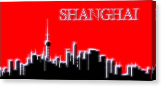 Shanghai Skyline Canvas Print - Shanghai Electric Skyline by Dan Sproul
