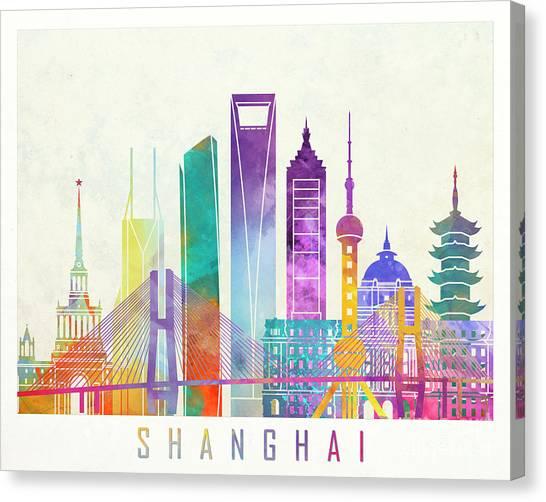 Shanghai Skyline Canvas Print - Shanghai Landmarks Watercolor Poster by Pablo Romero