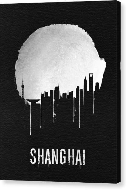 Shanghai Skyline Canvas Print - Shanghai Skyline Black by Naxart Studio