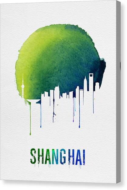 Shanghai Skyline Canvas Print - Shanghai Skyline Blue by Naxart Studio
