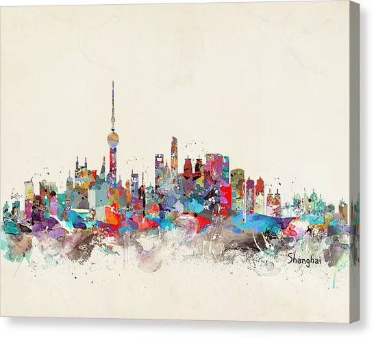 Shanghai Skyline Canvas Print - Shanghai Skyline by Bleu Bri