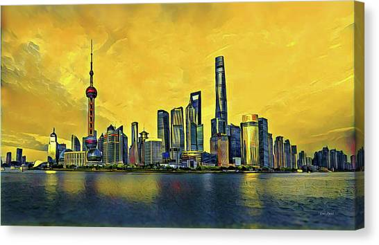 Shanghai Skyline Canvas Print - Shanghai Skyline - China by Russ Harris