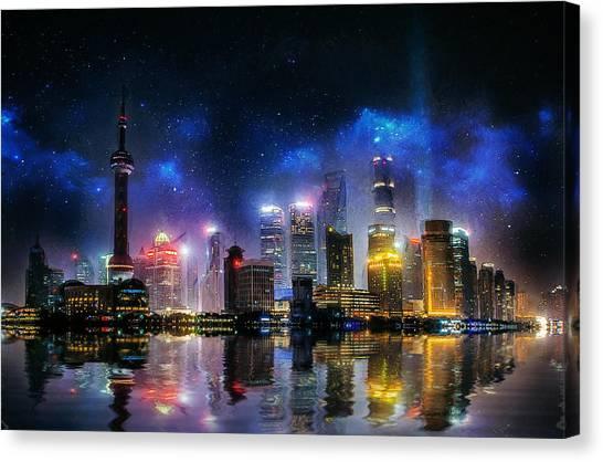 Shanghai Skyline Canvas Print - Shanghai Skyline by Ian Mitchell