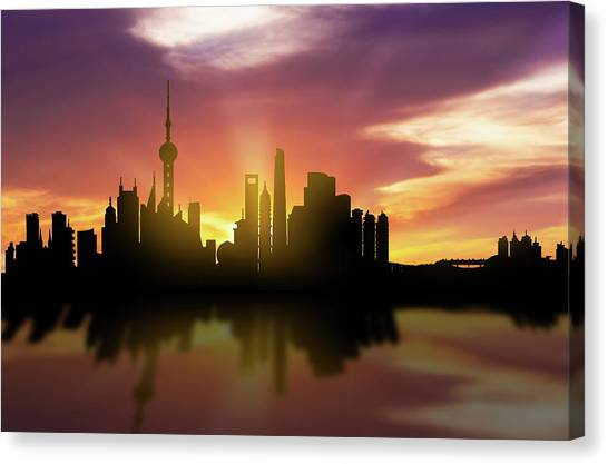 Shanghai Skyline Canvas Print - Shanghai Skyline Sunset Chsh22 by Aged Pixel