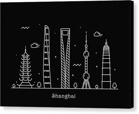 Shanghai Skyline Canvas Print - Shanghai Skyline Travel Poster by Inspirowl Design