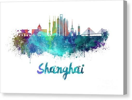 Shanghai Skyline Canvas Print - Shanghai V2 Skyline In Watercolor by Pablo Romero
