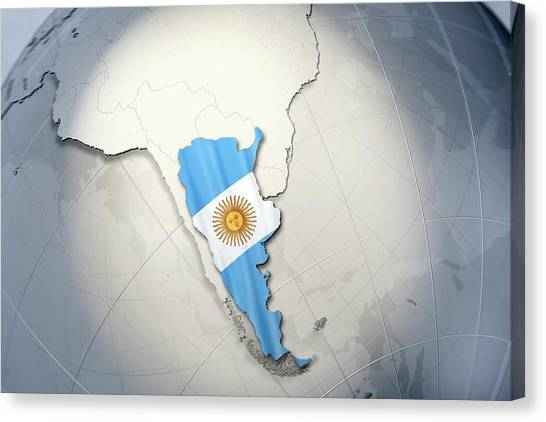 Argentinian Canvas Print - Shape And Ensign Of Argentina On A Globe by Dieter Spannknebel