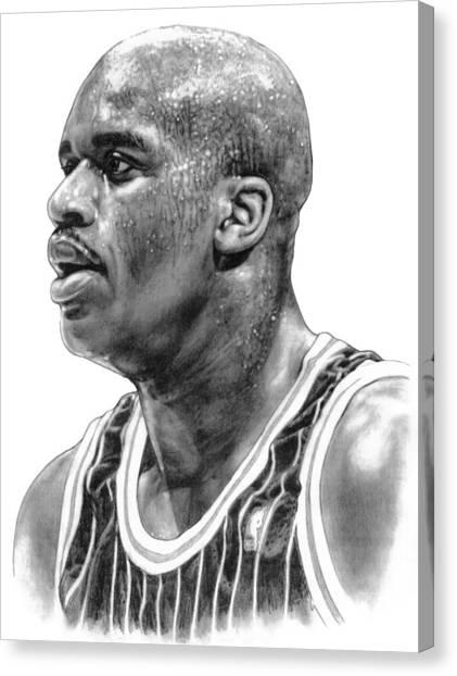 Miami Heat Canvas Print - Shaq O'neal by Harry West