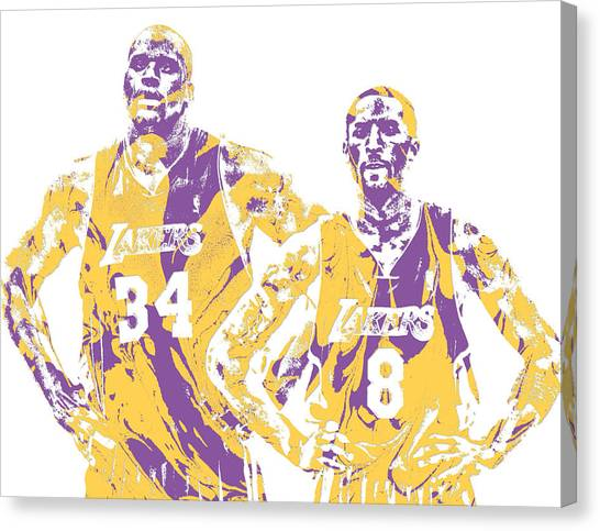 Kobe Bryant Canvas Print - Shaquille Oneal Kobe Bryant Los Angeles Lakers Pixel Art 1 by Joe Hamilton