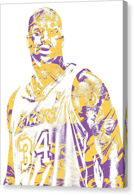 Shaquille Oneal Canvas Print - Shaquille Oneal Los Angeles Lakers Pixel Art 7 by Joe Hamilton