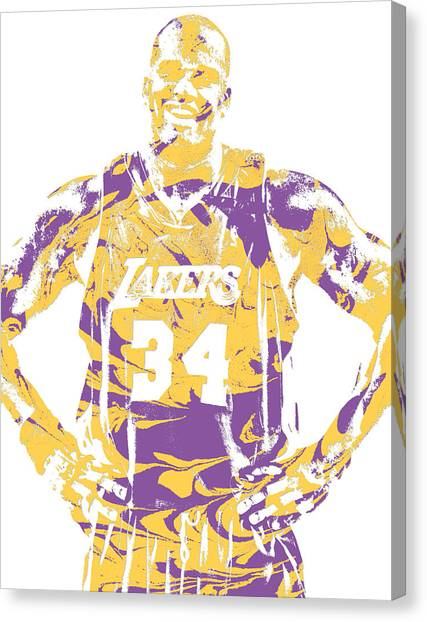 Shaquille Oneal Canvas Print - Shaquille Oneal Los Angeles Lakers Pixel Art 8 by Joe Hamilton