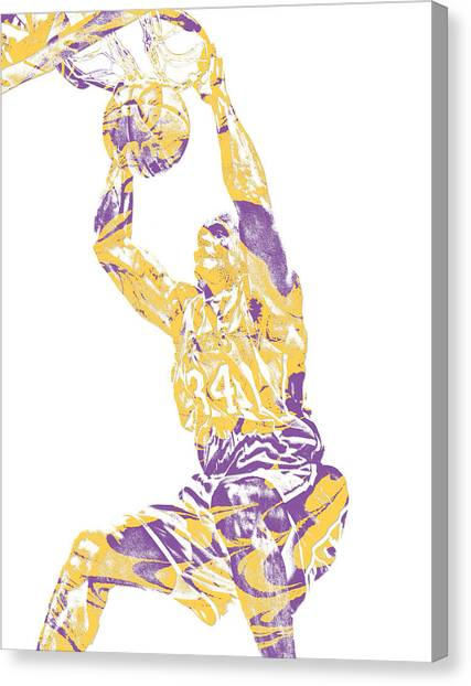Shaquille Oneal Canvas Print - Shaquille Oneal Los Angeles Lakers Pixel Art 9 by Joe Hamilton