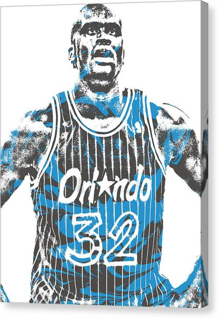 Shaquille Oneal Canvas Print - Shaquille Oneal Orlando Magic Pixel Art 6 by Joe Hamilton