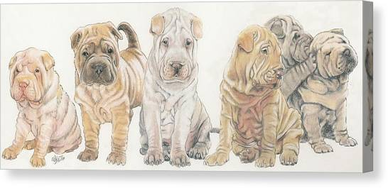 Canvas Print - Chinese Shar Pei Puppies by Barbara Keith