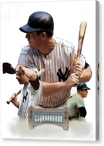 Mickey Mantle Canvas Print - Shared Legacy Mickey Mantle by Iconic Images Art Gallery David Pucciarelli