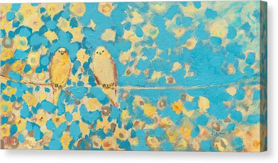 Sparrows Canvas Print - Sharing A Sunny Perch by Jennifer Lommers