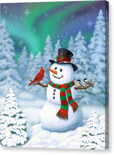 Night Caps Canvas Print - Sharing The Wonder - Christmas Snowman And Birds by Crista Forest