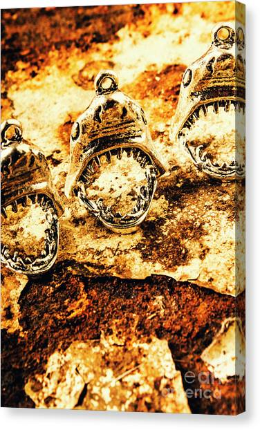 Marine Life Canvas Print - Shark Pendants On Rusty Marine Background by Jorgo Photography - Wall Art Gallery