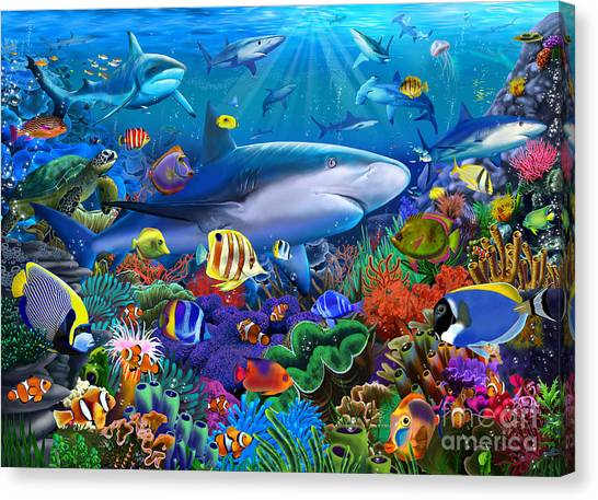 Coral Reefs Canvas Print - Shark Reef by Gerald Newton