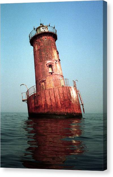 Sharps Island Lighthouse Chesapeake Bay Maryland Canvas Print by Wayne Higgs