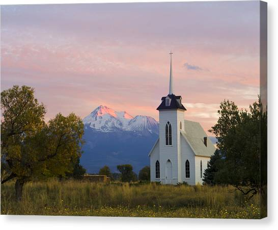 Shasta Alpenglow With Historic Church Canvas Print