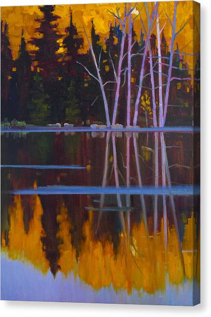 Shaw Lake Reflections Canvas Print by Susan McCullough