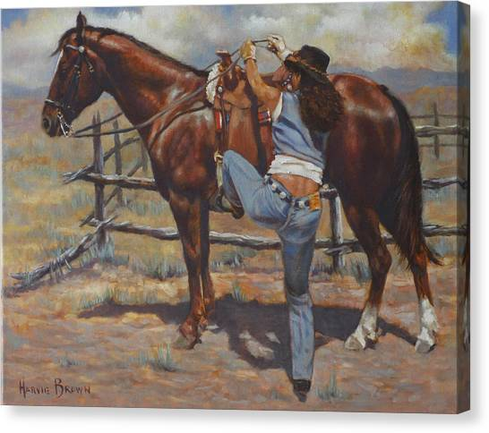 Shawtie-butt And Cowboy Canvas Print