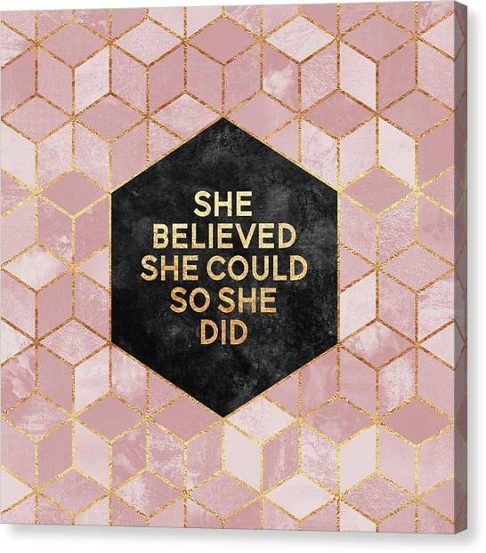 Girl Canvas Print - She Believed She Could by Elisabeth Fredriksson