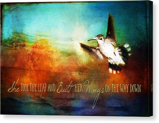 She Built Her Wings Canvas Print