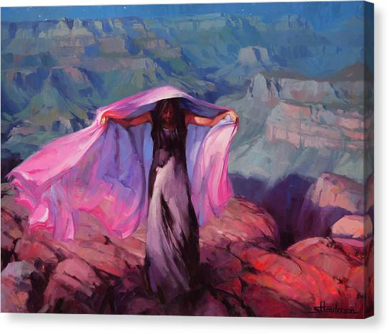 Red Rock Canvas Print - She Danced By The Light Of The Moon by Steve Henderson