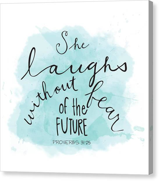 Bible Verses Canvas Print - She Laughs by Nancy Ingersoll