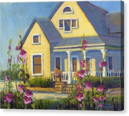 She Loves Hollyhocks. Canvas Print