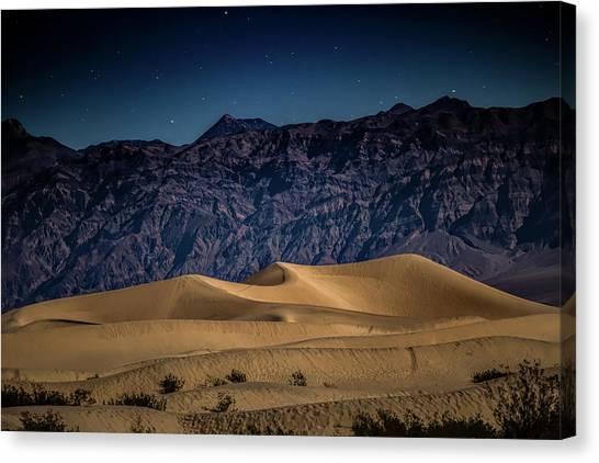 Mojave Desert Canvas Print - She Sleeps Under The Stars by Peter Tellone