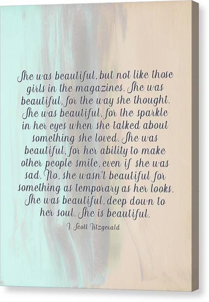 She Was Beautiful By F. Scott Fitzgerald 4 #painting #minimalism #poem Canvas Print