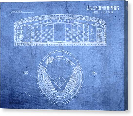 New York Mets Canvas Print - Shea Stadium New York Mets Baseball Field Blueprints by Design Turnpike