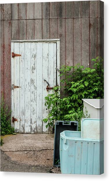 Canvas Print featuring the photograph Shed Door, French River by Rob Huntley