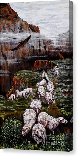 Sheep In The Mountains  Canvas Print
