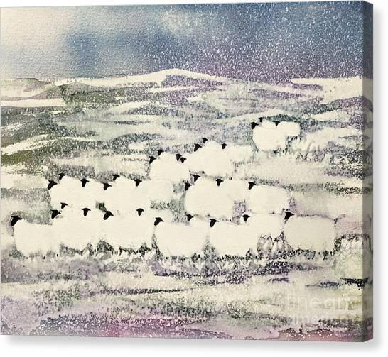 Ewe Canvas Print - Sheep In Winter by Suzi Kennett
