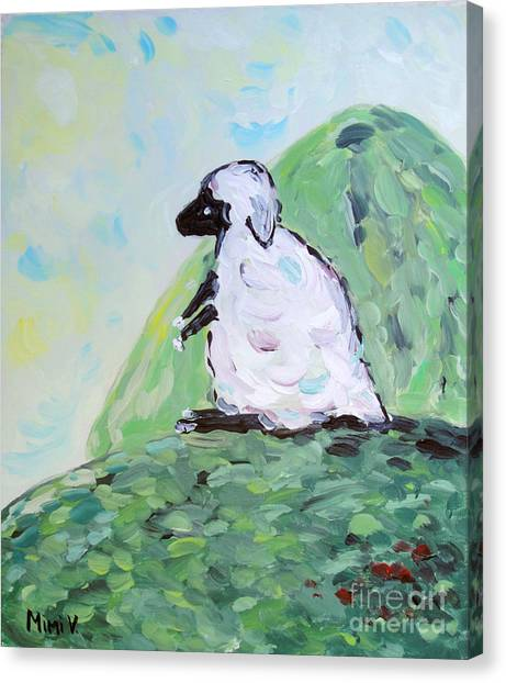 Canvas Print featuring the painting Sheep On A Hill by Maria Langgle
