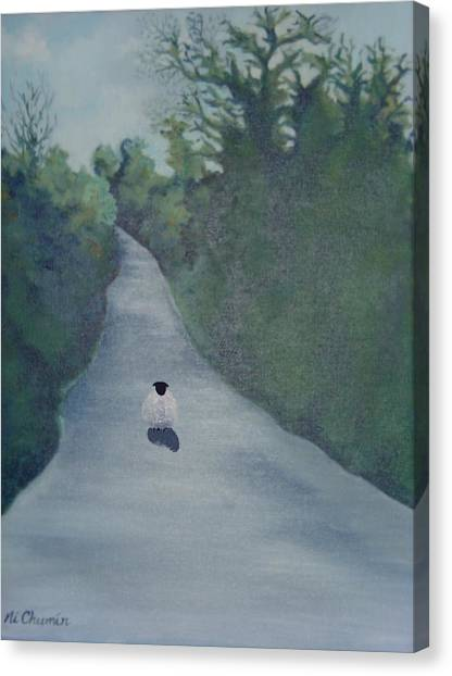 Sheep On The Irish Country Road Canvas Print by Elaine Cummins