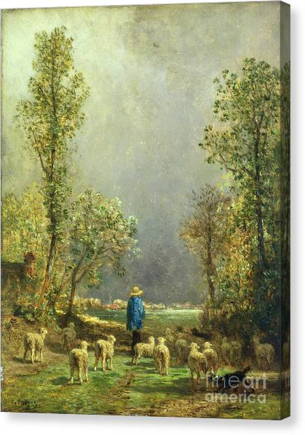 Country Canvas Print - Sheep Watching A Storm by Constant-Emile Troyon