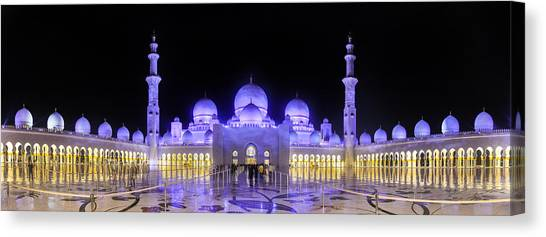 Canvas Print featuring the photograph Sheikh Zayed Mosque Panorama View by Yogendra Joshi