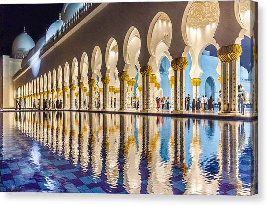 Canvas Print featuring the photograph Sheikh Zayed Mosque Reflections by Yogendra Joshi